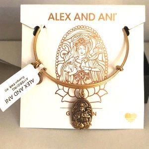 NWT Alex and Ani GUAN YIN Mercy Charm Bangle Gold